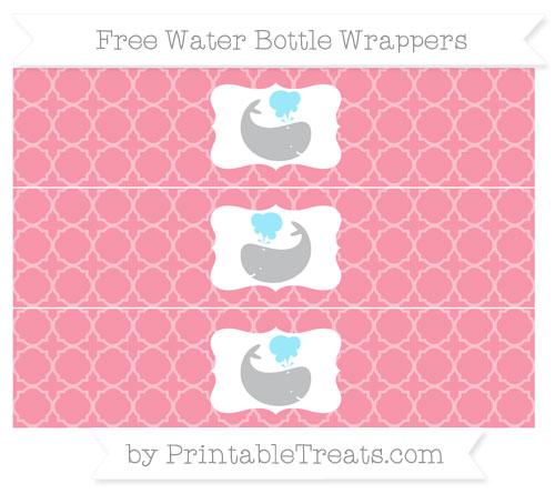 Free Pastel Pink Quatrefoil Pattern Whale Water Bottle Wrappers