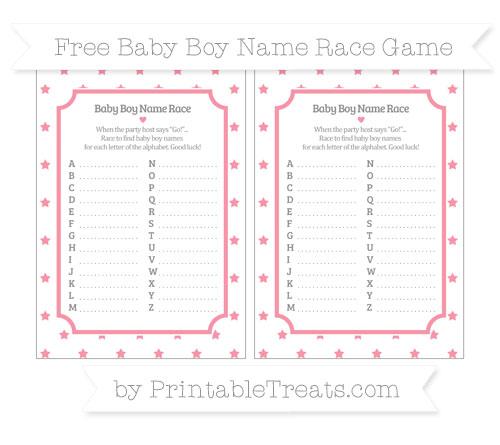Free Pastel Pink Star Pattern Baby Boy Name Race Game