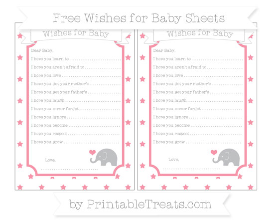 Free Pastel Pink Star Pattern Baby Elephant Wishes for Baby Sheets