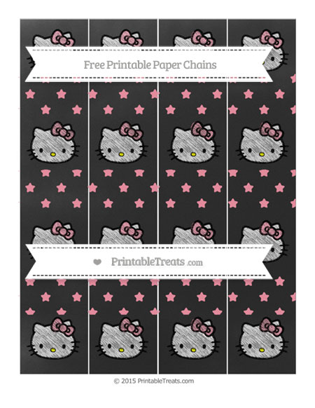 Free Pastel Pink Star Pattern Chalk Style Hello Kitty Paper Chains
