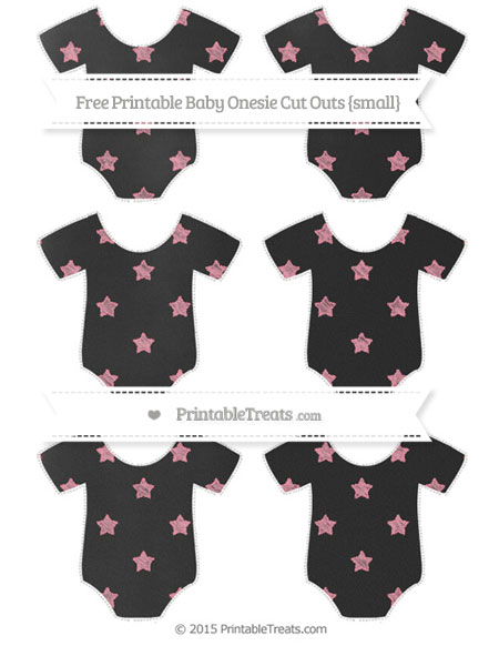 Free Pastel Pink Star Pattern Chalk Style Small Baby Onesie Cut Outs