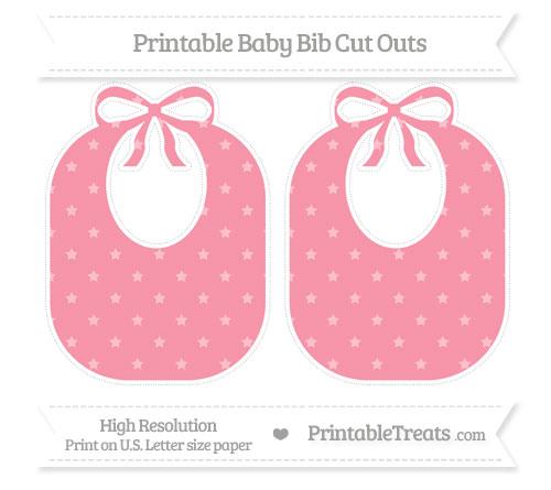 Free Pastel Pink Star Pattern Large Baby Bib Cut Outs