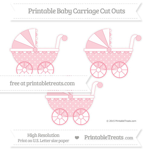 Free Pastel Pink Star Pattern Medium Baby Carriage Cut Outs