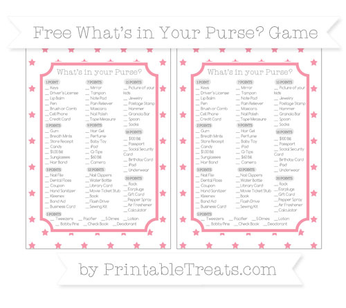 Free Pastel Pink Star Pattern What's in Your Purse Baby Shower Game