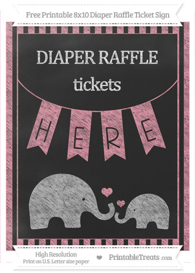 Free Pastel Pink Striped Chalk Style Elephant 8x10 Diaper Raffle Ticket Sign