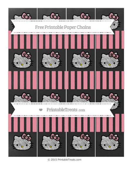 Free Pastel Pink Striped Chalk Style Hello Kitty Paper Chains