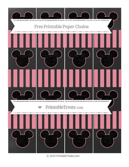 Free Pastel Pink Striped Chalk Style Mickey Mouse Paper Chains
