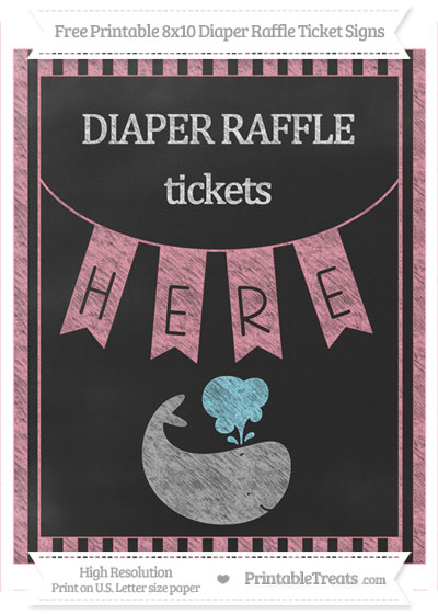 Free Pastel Pink Striped Chalk Style Whale 8x10 Diaper Raffle Ticket Sign