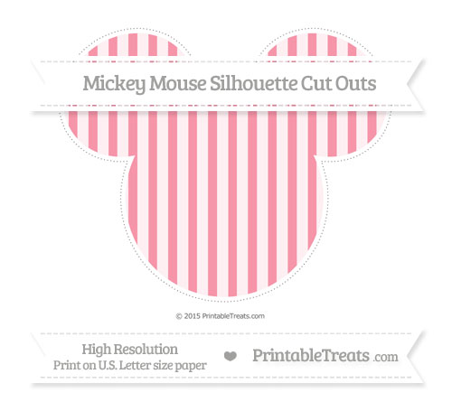 Free Pastel Pink Striped Extra Large Mickey Mouse Silhouette Cut Outs