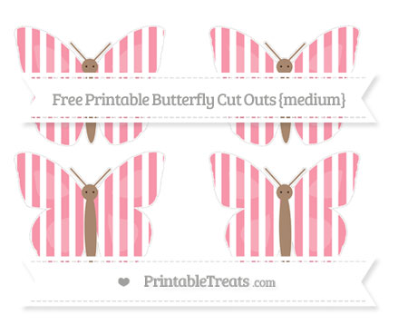 Free Pastel Pink Striped Medium Butterfly Cut Outs