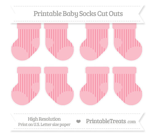 Free Pastel Pink Striped Small Baby Socks Cut Outs