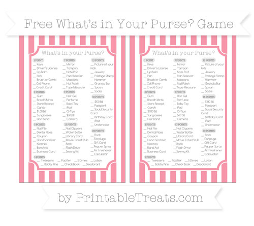 Free Pastel Pink Striped What's in Your Purse Baby Shower Game
