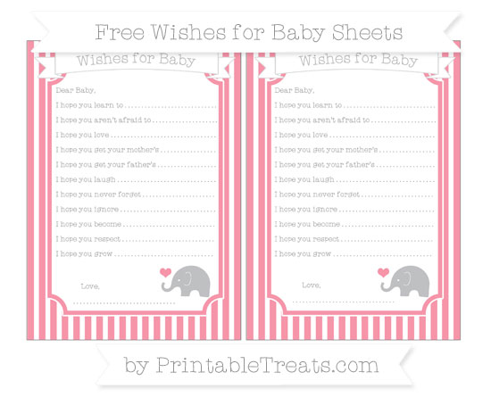 Free Pastel Pink Thin Striped Pattern Baby Elephant Wishes for Baby Sheets