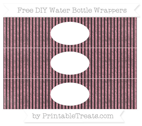 Free Pastel Pink Thin Striped Pattern Chalk Style DIY Water Bottle Wrappers