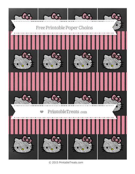 Free Pastel Pink Thin Striped Pattern Chalk Style Hello Kitty Paper Chains