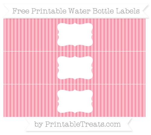 Free Pastel Pink Thin Striped Pattern Water Bottle Labels