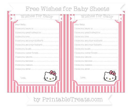 Free Pastel Pink Thin Striped Pattern Hello Kitty Wishes for Baby Sheets