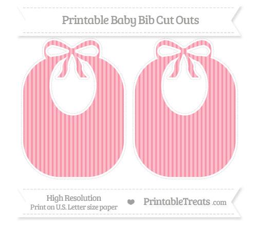 Free Pastel Pink Thin Striped Pattern Large Baby Bib Cut Outs