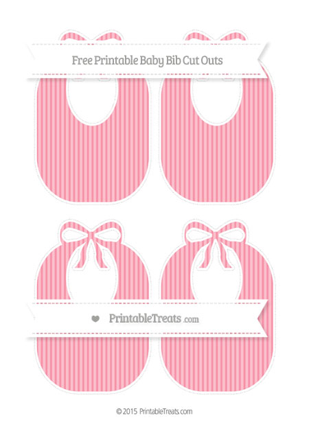 Free Pastel Pink Thin Striped Pattern Medium Baby Bib Cut Outs