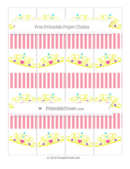 Free Pastel Pink Thin Striped Pattern Princess Tiara Paper Chains