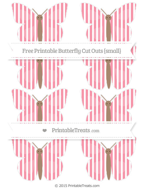 Free Pastel Pink Thin Striped Pattern Small Butterfly Cut Outs