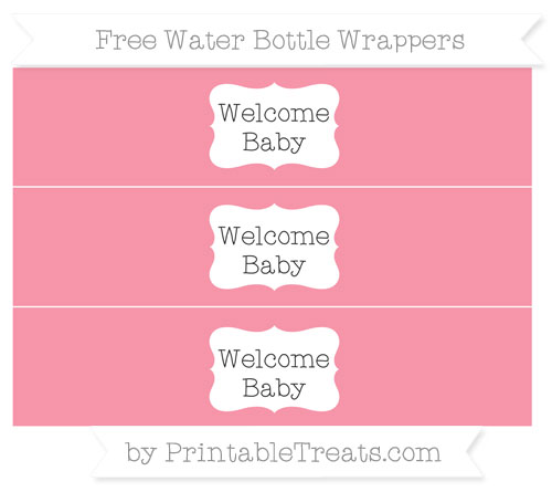 Free Pastel Pink Welcome Baby Water Bottle Wrappers