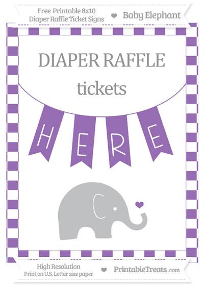 Free Pastel Plum Checker Pattern Baby Elephant 8x10 Diaper Raffle Ticket Sign
