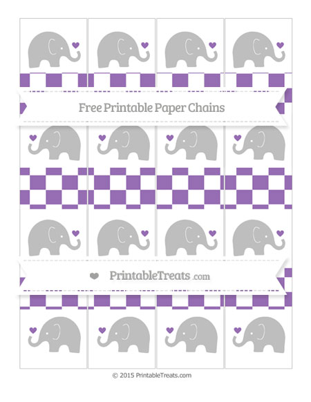 Free Pastel Plum Checker Pattern Baby Elephant Paper Chains