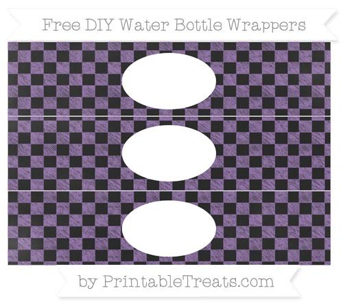 Free Pastel Plum Checker Pattern Chalk Style DIY Water Bottle Wrappers