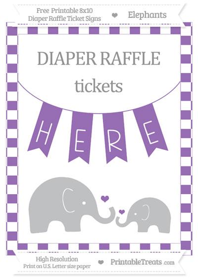 Free Pastel Plum Checker Pattern Elephant 8x10 Diaper Raffle Ticket Sign
