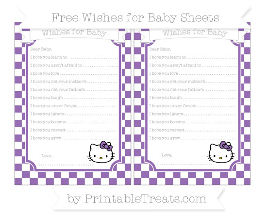 Free Pastel Plum Checker Pattern Hello Kitty Wishes for Baby Sheets