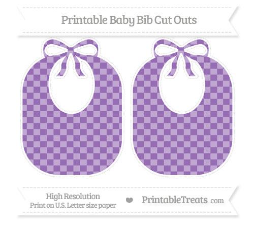 Free Pastel Plum Checker Pattern Large Baby Bib Cut Outs