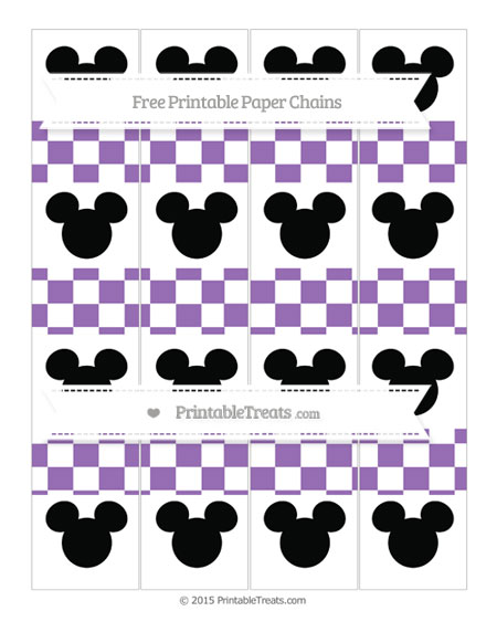 Free Pastel Plum Checker Pattern Mickey Mouse Paper Chains