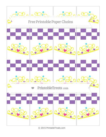 Free Pastel Plum Checker Pattern Princess Tiara Paper Chains