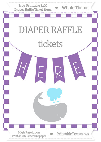 Free Pastel Plum Checker Pattern Whale 8x10 Diaper Raffle Ticket Sign