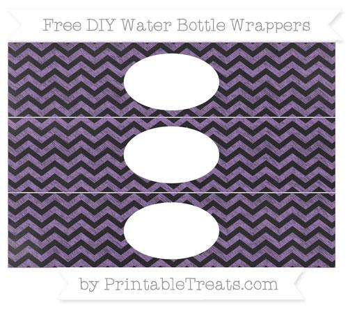 Free Pastel Plum Chevron Chalk Style DIY Water Bottle Wrappers