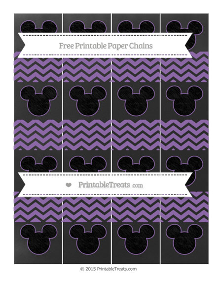 Free Pastel Plum Chevron Chalk Style Mickey Mouse Paper Chains