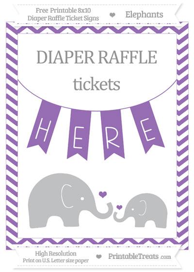 Free Pastel Plum Chevron Elephant 8x10 Diaper Raffle Ticket Sign