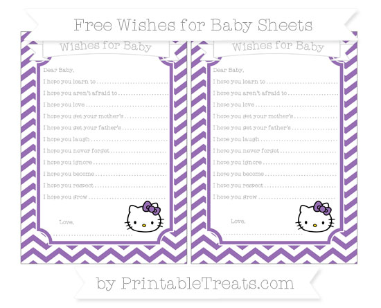 Free Pastel Plum Chevron Hello Kitty Wishes for Baby Sheets