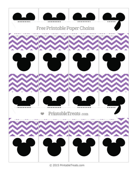 Free Pastel Plum Chevron Mickey Mouse Paper Chains