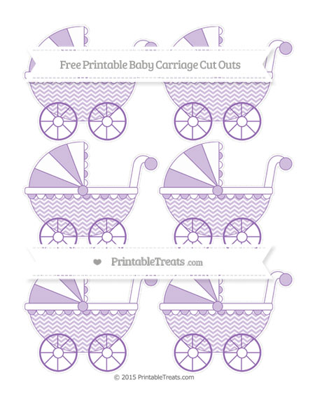 Free Pastel Plum Chevron Small Baby Carriage Cut Outs