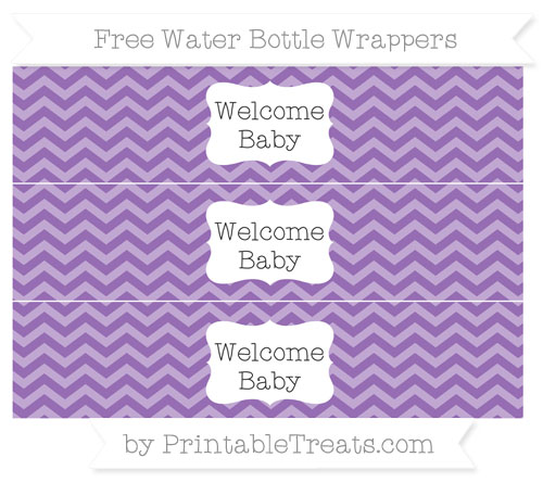 Free Pastel Plum Chevron Welcome Baby Water Bottle Wrappers