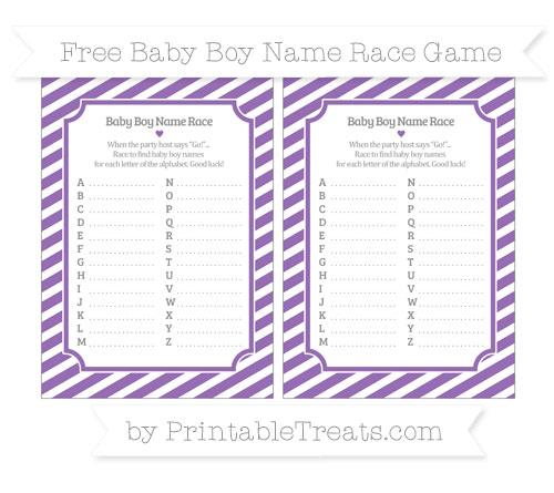 Free Pastel Plum Diagonal Striped Baby Boy Name Race Game