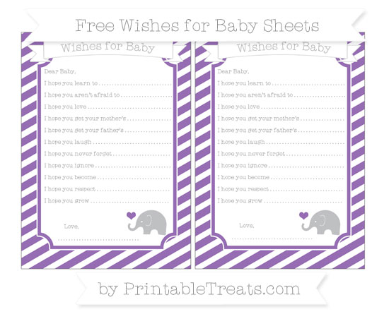 Free Pastel Plum Diagonal Striped Baby Elephant Wishes for Baby Sheets