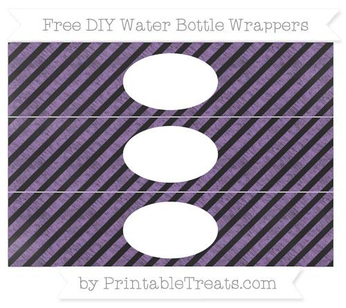 Free Pastel Plum Diagonal Striped Chalk Style DIY Water Bottle Wrappers