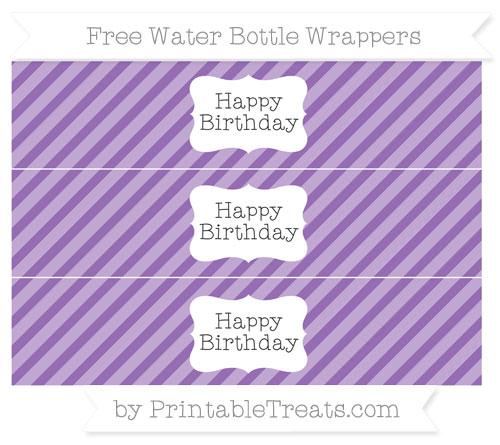 Free Pastel Plum Diagonal Striped Happy Birhtday Water Bottle Wrappers