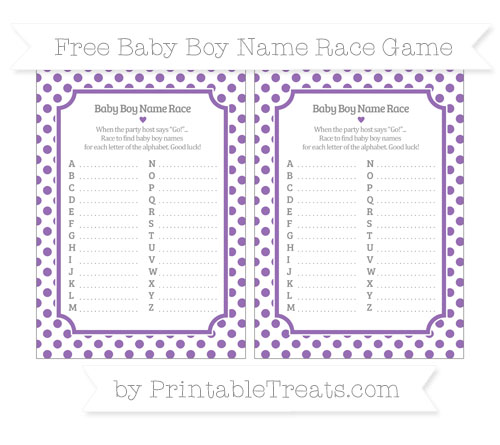 Free Pastel Plum Dotted Pattern Baby Boy Name Race Game