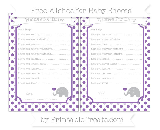 Free Pastel Plum Dotted Pattern Baby Elephant Wishes for Baby Sheets