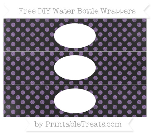 Free Pastel Plum Dotted Pattern Chalk Style DIY Water Bottle Wrappers