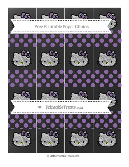 Free Pastel Plum Dotted Pattern Chalk Style Hello Kitty Paper Chains